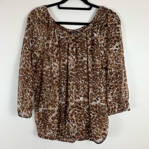 Lucky Brand Animal Print Pattern Blouse